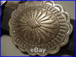Heavy And Hand Wrought Vintage Navajo Sterling Silver Concho Belt