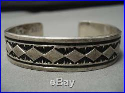 Heavy And Thick! Hamd Hammered Vintage Navajo Sterling Silver Bracelet Old