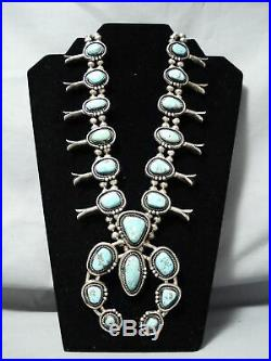 Heavy Authentic Vintage Navajo Turquoise Sterling Silver Squash Blossom Necklace