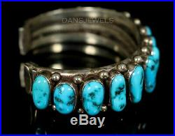Heavy Mens Navajo Vintage OLD PAWN Traditional Kingman Turquoise ROW Bracelet