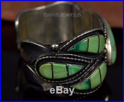 Heavy Old Pawn Vintage Navajo Green TURQUOISE Sterling CUFF Bracelet
