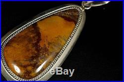 Heavy Old Pawn Vintage Navajo TURQUOISE HUGE Orange Jasper Pendant Enhancer