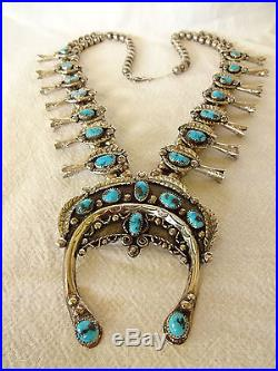 Heavy Vintage NAVAJO Sterling Silver & Blue TURQUOISE Squash Blossom NECKLACE