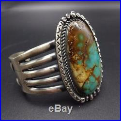 Heavy Vintage NAVAJO Sterling Silver & ROYSTON TURQUOISE Cuff BRACELET, 146g
