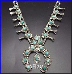 Heavy Vintage NAVAJO Sterling Silver & Turquoise SQUASH BLOSSOM Necklace
