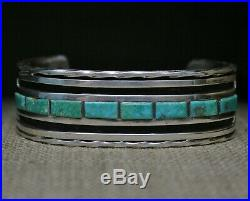 Heavy Vintage Native American Zuni Turquoise Sterling Silver Cuff Bracelet