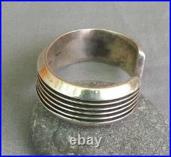 Heavy Vintage Navajo Signed Sterling Silver Cuff Bracelet 70.3 Grams SM Med Wmns