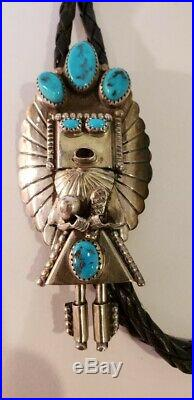 Huge Exceptional Vintage Native American Sterling Silver Signed Kachina Bolo
