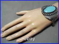 Huge Flank Vintage Navajo Turquoise Sterling Silver Bracelet