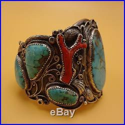 Huge Signed Vintage NAVAJO Sterling Silver BRANCH CORAL Turquoise Cuff BRACELET
