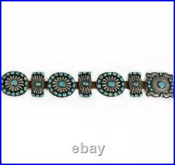 Huge Very Unique Vintage Navajo Sterling Silver Turquoise Concho Belt