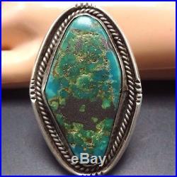 Huge Vintage NAVAJO Sterling Silver & Deep Blue-Green TURQUOISE RING, size 12