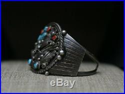 Huge Vintage Native American Navajo Sterling Turquoise Coral Cuff Bracelet
