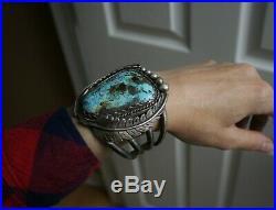 Huge Vintage Native American Navajo Turquoise Sterling Silver Cuff Bracelet 126g