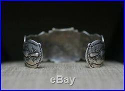 Huge Vintage Native American Sterling Silver Turquoise Cuff Bracelet Men's Size