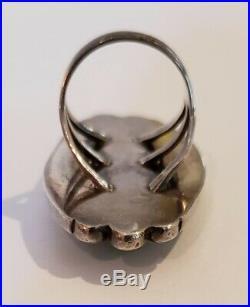 Huge Vintage Native American Sterling Silver Turquoise Ring SIGNED