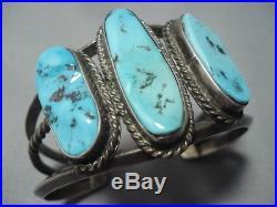 Huge Vintage Navajo Blue Turquoise Sterling Silver Bracelet Old