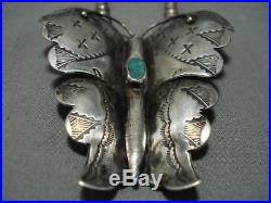 Huge Vintage Navajo Butterfly Turquoise Sterling Silver Necklace Old
