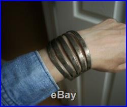 Huge Vintage Navajo Native American Sterling Silver Split Shank Cuff Bracelet