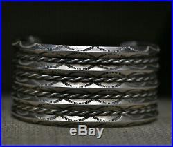 Huge Vintage Navajo Native American Sterling Silver Twisted Rope Cuff Bracelet