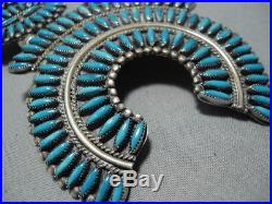 Huge Vintage Navajo Needle Turquoise Sterling Silver Squash Blossom Necklace