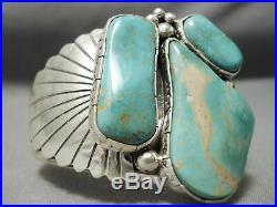 Huge Vintage Navajo Royston Turquoise Bursting Sterling Silver Bracelet
