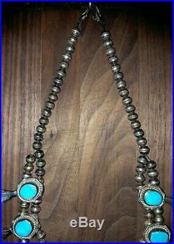Huge Vintage Navajo Squash Blossom Necklace Sterling Silver 17 Gem Turquoise