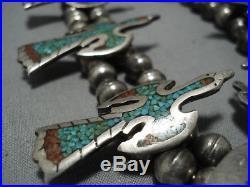 Huge! Vintage Navajo Turquoise Coral Sterling Silver Squash Blossom Necklace Old