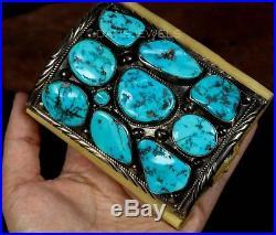 Huge Vintage Old Pawn Navajo Forged BIG Kingman Turquoise Bow Guard Bracelet