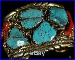 Huge Vintage Old Pawn Navajo R A LEWIS IHMSS BIG Turquoise Sterling Bracelet