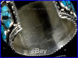 Huge Vintage Old Pawn Navajo Tsinnie Morenci Turquoise Sterling Bracelet