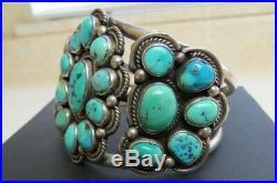 Huge Vintage Old Pawn Silver Navajo Cluster Turquoise Cuff Bracelet
