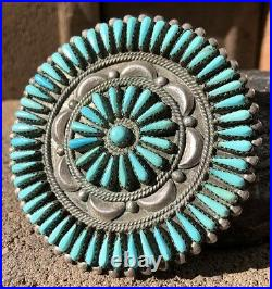 Huge Vintage Old Pawn Zuni Petit Needle Point Turquoise Pin Brooch -2 7/8