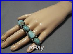 Important Double Finger Royston Turquoise Sterling Silver Vintage Navajo Ring