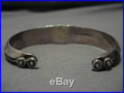 Important Lander Blue Turquoise Vintage Navajo Sterling Silver Bracelet Old