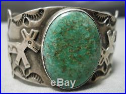 Important Paul Yellowhorse Vintage Navajo Turquoise Sterling Silver Bracelet