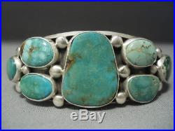 Important Verdy Jake Royston Green Turquoise Vintage Sterling Silver Bracelet