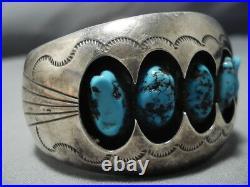 Important Vintage Navajo 3d Cuff Sterling Silver Blue Turquoise Bracelet Old