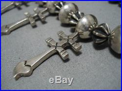 Important Vintage Navajo Al Joe Cross Sterling Silver Squash Blossom Necklace