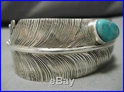 Important Vintage Navajo Ben Begaye Sterling Silver Feather Master Bracelet