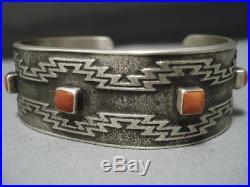 Important Vintage Navajo Chee Sterling Silver Coral Bracelet Old