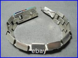 Important Vintage Navajo Jimmie King Jr Turquoise Sterling Silver Bracelet