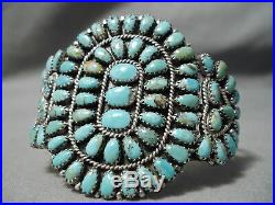 Important Vintage Navajo Larry Moses Begay Turquoise Sterling Silver Bracelet