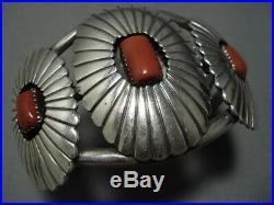 Incredible Vintage Navajo Coral Sterlng Silver Bracelet Old