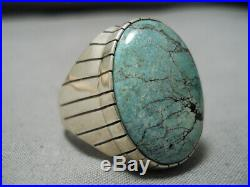 Incredible Vintage Navajo Green Turquoise Sterling Silver Native American Ring