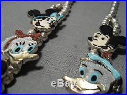 Intrciate Vintage Zuni Turquoise Sterling Silver Disney Squash Blossom Necklace