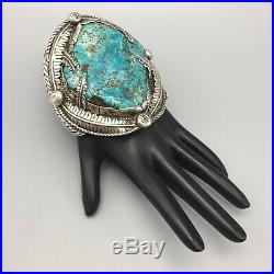 LARGE, Vintage Statement Morenci Turquoise & Sterling Silver Cuff Bracelet