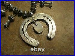 LAVISH Vintage Navajo Sterling Turquoise Fluted Bead SQUASH BLOSSOM Necklace