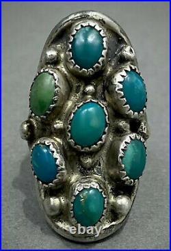 LONG Vintage Navajo Native American Sterling Silver Turquoise Cluster Ring OLD