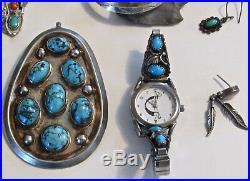 LOT Native American sterling turquoise jewelry Pendant ring ER Navajo Zuni vtg